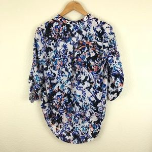 Lush Tops - Lush Floral Brushstroke Roll Sleeve Blouse